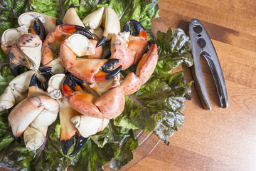 Stone Crab Claws on a Bed of Red Lettuce