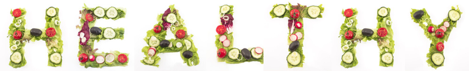 Word healthy made of salad