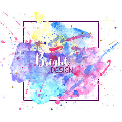 Spoed Foto op Canvas Wereldkaart Bright vector color splash. Colorful artistic backdrop. Watercolor abstract background isolated on white.