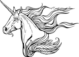 unicorn with mane  of fire.