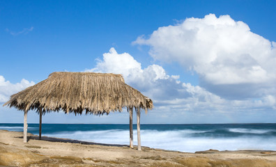 Thatched  bamboo hut on beach - Bamboo hut on a tropical beach with white puffy clouds in sky