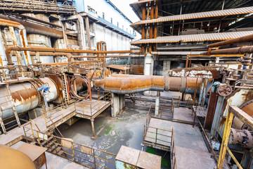 Industrial pipeline equipment scene in the old steel mill