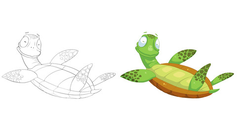 Creative Illustration and Innovative Art: Animal Set: Sketch Line Art and Coloring Book: Happy Turtle. Realistic Fantastic Cartoon Style Character Design, Wallpaper, Story Background, Card Design