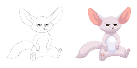 Creative Illustration and Innovative Art: Animal Set: Sketch Line Art and Coloring Book: Fennec Fox, Bat-eared Fox. Realistic Fantastic Cartoon Style Character Design, Wallpaper, Story, Card Design