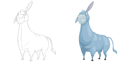 Creative Illustration and Innovative Art: Animal Set: Sketch Line Art and Coloring Book: Donkey. Realistic Fantastic Cartoon Style Character Design, Wallpaper, Story Background, Card Design