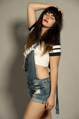 Gorgeous Young Brunette in Overalls