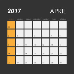 Template of calendar for April 2017