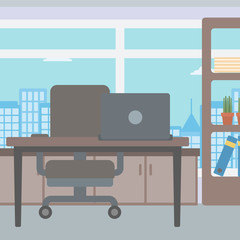 Background of office with city view.
