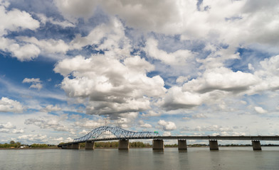 Clouds Roll Fast Past Pioneer Memorial Bridge Columbia River