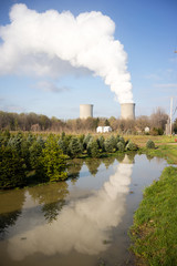 Clear Reflection Under Nuclear Power Plant Exhaust Plume