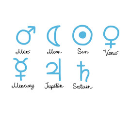 Astrology symbols of the planets, sketch for your design