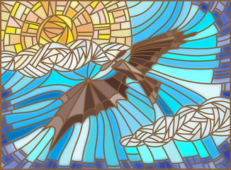 Illustration in stained glass style with vintage aircraft in the sky, clouds and sun