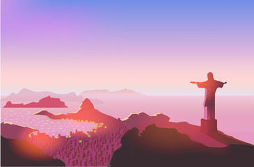 Rio de Janeiro skyline. Statue rises above the brazilian city. Sunset sky over Copacabana beach. Vector illustration