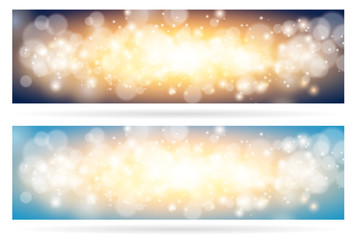 Wall Mural - Abstract sparkling cloud light magic blue background. Bright glow spark and bokeh effect horizontal banner set.
