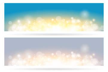 Wall Mural - Abstract sparkling cloud light fantasy blue and gray background. Bright glow spark and bokeh effect horizontal banner set.