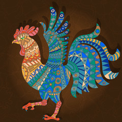 Illustration with abstract rooster on a dark floral background