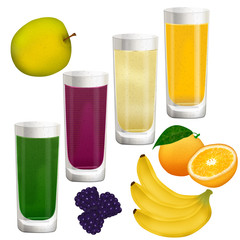 Smoothies and fruit on white background