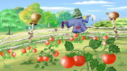 Rural landscape with Scarecrow in a Kitchen Garden.