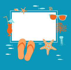 Summer vacation. Travel background drawing. Coral, starfish, flip flops, sunglasses , seashells.  Vector frame.