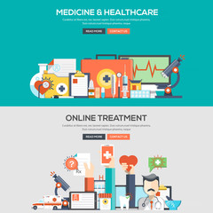 Flat design concept banner - Medicine and Healthcare