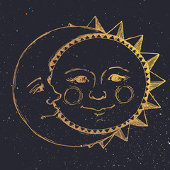 Hand drawn sun with moon