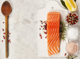 fresh raw salmon fillet