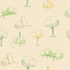 Park beige green tree bench lamp seamless pattern illustration vector