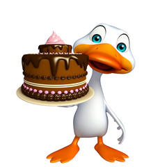Duck cartoon character with cake