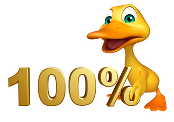 Duck cartoon character with 100% sign
