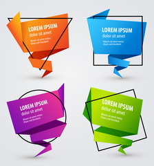 Colorful Creative Paper Banners for Your Text. Vector Illustration