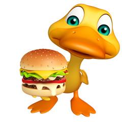 fun Duck cartoon character with burger