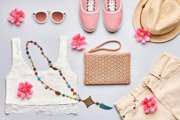 Summer Fashion girl clothes stylish set. Overhead