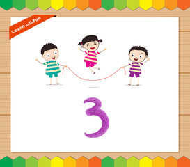 Kids playing with the number 3