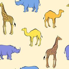 Africa animal rhinoceros camel giraffe blue yellow orange seamless pattern illustration vector