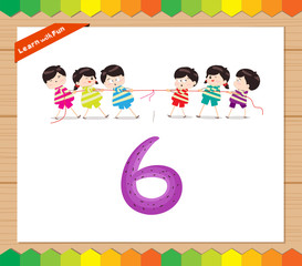 Kids playing with the number 6