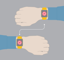 Hands with smartwatch connected wia wireless technology.