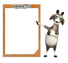 cute Goat cartoon character with exam pad