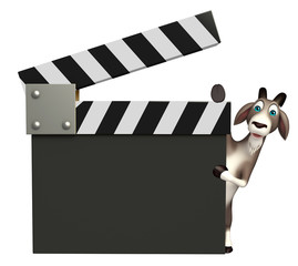 cute Goat cartoon character with clapper board