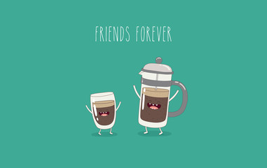Funny cup of coffee and funny coffee pot. Friend forever. Vector illustration. Comic character.
