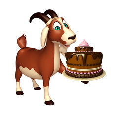Goat cartoon character with cake