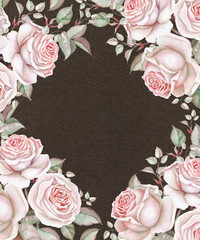 Watercolor roses on dark brown background. Floral frame