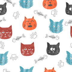 Watercolor cute cats seamless pattern. Vector background with funny cat heads.