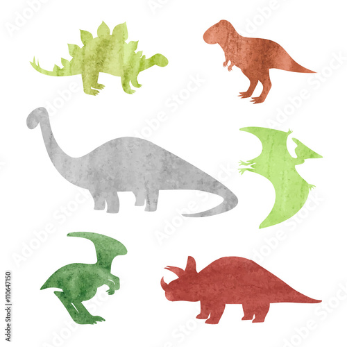 Watercolor dinosaurs silhouettes. Set of dinosaurs isolated on white background. Vector illustration.