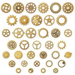 Set of Vintage Mechanical Cogwheel Gears Wheels