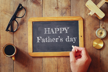 top view image of fathers day composition with vintage father's