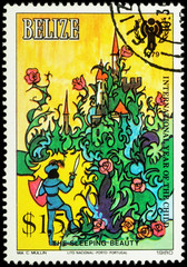 Prince before the castle - scene from a fairy tale on postage st