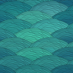 Seamless pattern with waves ornament