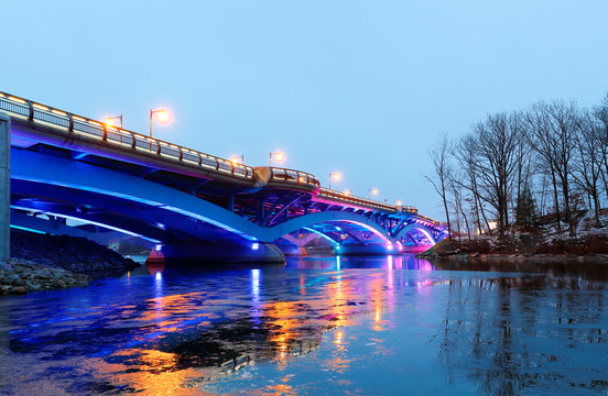 Kenneth F. Burns Memorial Bridge connecting Worcester and Shrewsbury at a Winter Dusk, MA.