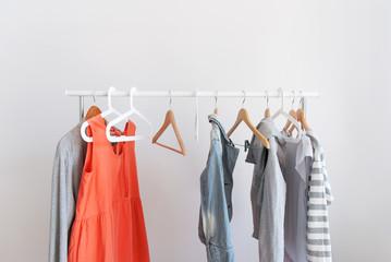 Pastel Color Clothes Female Open Cloth Rail