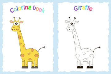 Coloring book page for preschool children with colorful giraffe and sketch to color